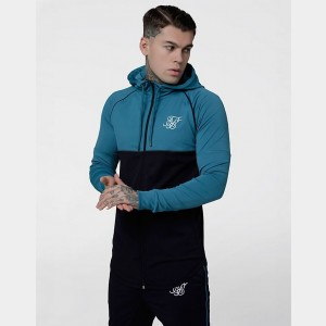 Men's SikSilk Zonal Full-Zip Hoodie Teal Sales