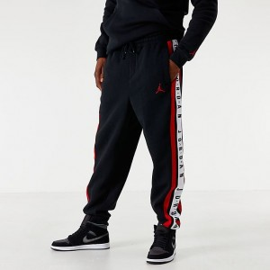 Men's Jordan Air Colorblocked Fleece Jogger Pants Black/Red/White Sales