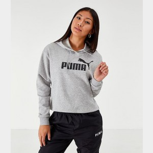 Women's Puma Elevated Essentials Cropped Fleece Hoodie Grey Sales