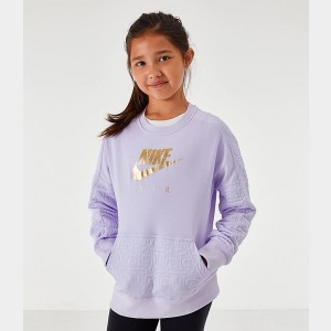 Girls' Nike Air Quilted Crewneck Sweatshirt Lavendar Mist/Metallic Gold Sales