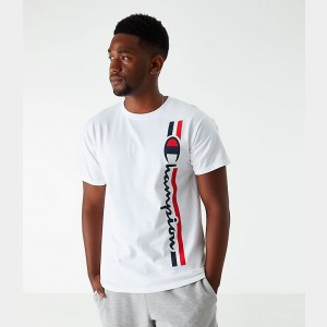 Men's Champion Vertical Script T-Shirt White Sales