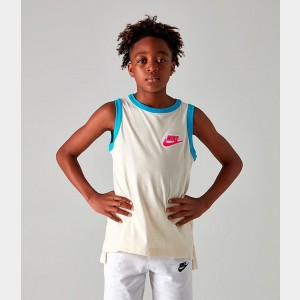 Boys' Nike Sportswear Hoopfly Tank Cream/Blue Sales