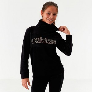 Girls' adidas Originals Funnel Neck Pullover Sweatshirt Black/Gold Sales