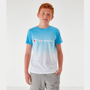 Boys' Champion Dip Dyed Logo T-Shirt Active Blue Sales