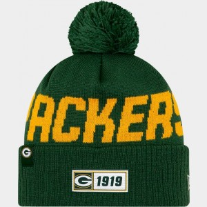 New Era Green Bay Packers NFL Road Sideline Beanie Hat Green/Yellow Sales