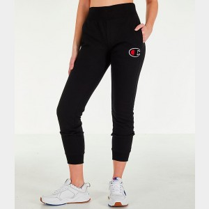 Women's Champion Reverse Weave Chenille Jogger Sweatpants Black Sales