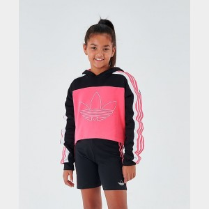 Girls' adidas Originals Cropped Hoodie Black/Pink Sales