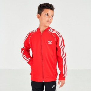 Boys' adidas Originals SST Track Jacket Scarlet/White Sales