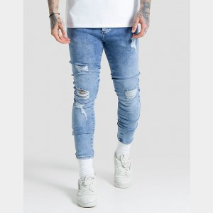 Men's SikSilk Low Rise Distressed Jeans Blue Sales