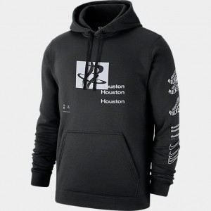 Men's Nike Houston Rockets Distorted Logo NBA Hoodie Black Sales