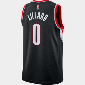 Men's Nike Portland Trail Blazers NBA Damian Lillard Icon Edition Connected Jersey Black Sales