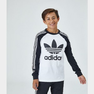 Kids' adidas Originals Lock Up Long-Sleeve T-Shirt White/Black Sales