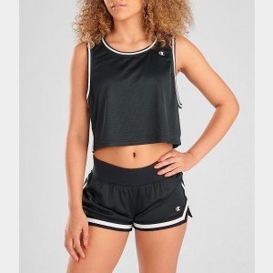 Women's Champion Life Reversible Mesh Crop Tank Black/White Sales