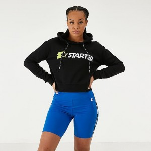 Women's Starter Crop Hoodie Black/Neon Green Sales