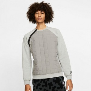 Men's Nike Sportswear Winter Crewneck Sweatshirt Dark Grey Heather/Black Sales