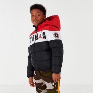 Boys' Jordan Colorblocked Puffer Jacket Black/White/Red Sales