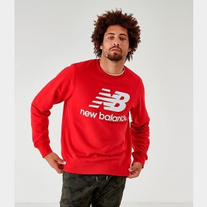 Men's New Balance Essentials Stacked Logo Crewneck Sweatshirt Red Sales