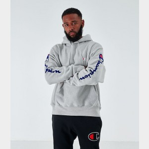 Men's Champion Reverse Weave Arm Script Hoodie Oxford Grey Sales