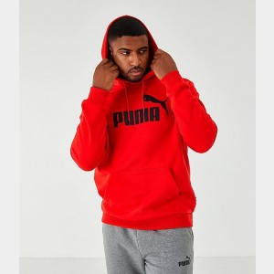 Men's Puma Essentials Big Logo Hoodie Red/Black Sales