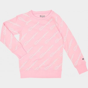 Girls' Champion Logo Graphic Fleece Crewneck Sweatshirt Pink Candy Sales