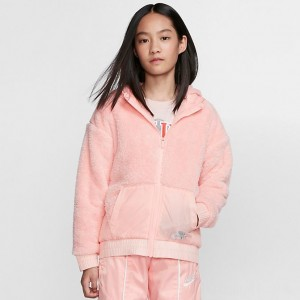 Girls' Nike Sportswear Sherpa Full-Zip Jacket Bleached Coral Sales