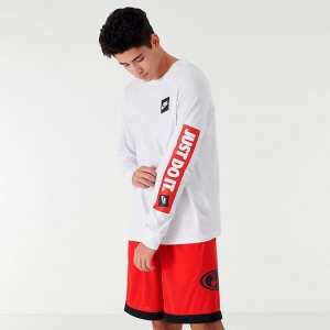 Men's Nike Sportswear JDI Long-Sleeve T-Shirt White/Red Sales