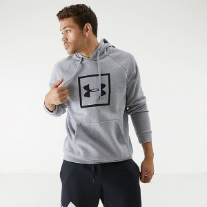 Men's Under Armour Rival Logo Fleece Hoodie Light Heather/Black Sales