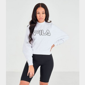Women's Fila Hanami Logo Sweatshirt White/Black Sales