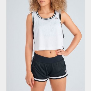 Women's Champion Life Reversible Mesh Crop Tank White/Black Sales
