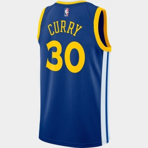 Men's Nike Golden State Warriors NBA Stephen Curry Icon Edition Connected Jersey Rush Blue/White/Amarillo Sales