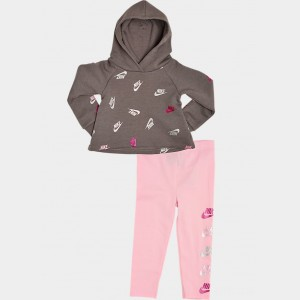 Girls' Infant and Toddler Nike Allover Print Futura Hoodie and Leggings Set Grey/Light Pink/Metallic Sales