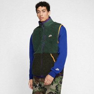 Men's Nike Sportswear Sherpa Fleece Vest Galactic Jade/Sequoia/Kumquat Sales
