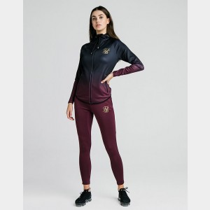 Women's SikSilk Fade Full-Zip Hoodie Burgundy Sales