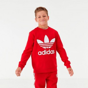 Kids' adidas Originals Trefoil Crewneck Sweatshirt Scarlet/White Sales