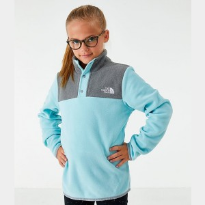 Girls' The North Face Glacier Half-Snap Sweatshirt Blue/Grey Sales