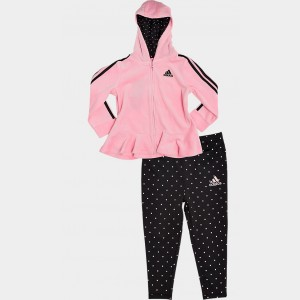 Girls' Infant adidas Velour Full-Zip Hoodie and Leggings Set Light Pink/Black Sales