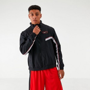 Men's Nike Throwback Woven Basketball Jacket Black/White Sales