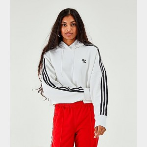 Women's adidas Originals Striped Cropped Hoodie White/Black Sales