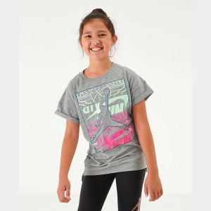 Girls' Jordan Stack Up Oversized T-Shirt Grey Sales