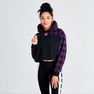 Women's Puma Trend Houndstooth Pullover Hoodie Plum/Houndstooth Sales