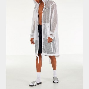 Men's Champion Mesh Hooded Trench Coat White Sales