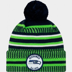 New Era Seattle Seahawks NFL Home Striped Sideline Beanie Hat Team Colors Sales