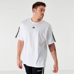 Men's adidas Badge of Sport Stripe T-Shirt White Sales