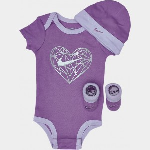 Girls' Infant Nike Heart Geo 3-Piece Box Set Space Purple/White Sales