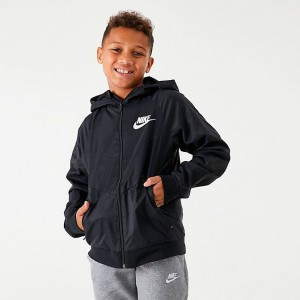 Boys' Nike Sportswear Windrunner Jacket Black/Black/Black/White Sales
