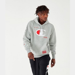 Men's Champion MCMXIX Hoodie Grey Sales