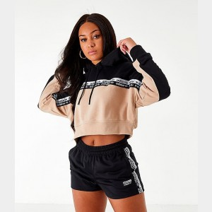 Women's adidas Originals Vocal Cropped Hoodie Ash Pearl/Black Sales