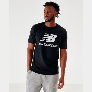 Men's New Balance Essentials Stacked Logo T-Shirt Black Sales