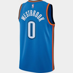 Men's Nike Oklahoma City Thunder NBA Russell Westbrook Icon Edition Connected Jersey Signal Blue/College Navy Sales