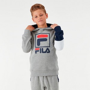 Boys' Fila Owen Hoodie Grey Heather Sales